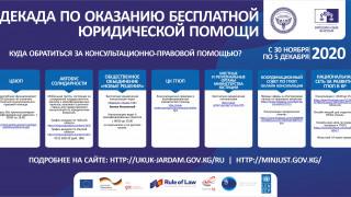 С 30 ноября по 5 декабря 2020 года пройдет Декада бесплатной консультационно-правовой помощи населению Кыргызстана